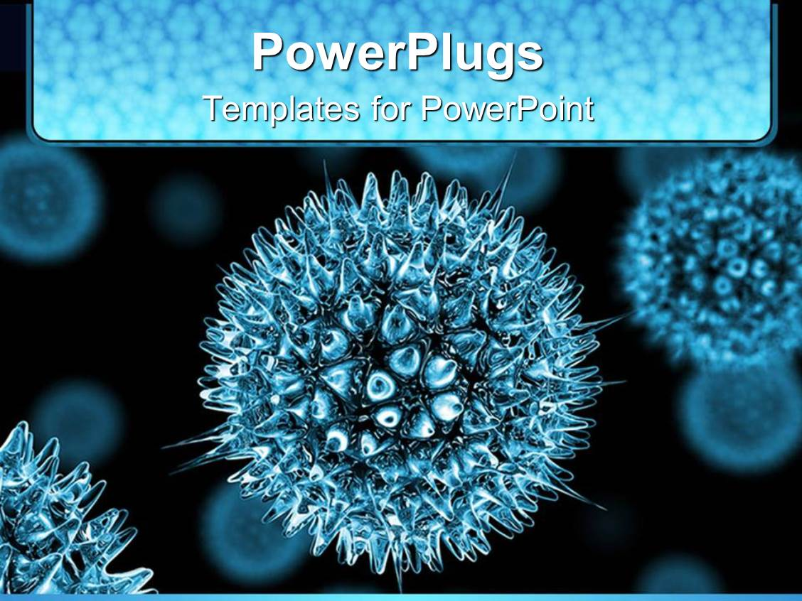 powerpoint template 3d blue viruses on dark colored