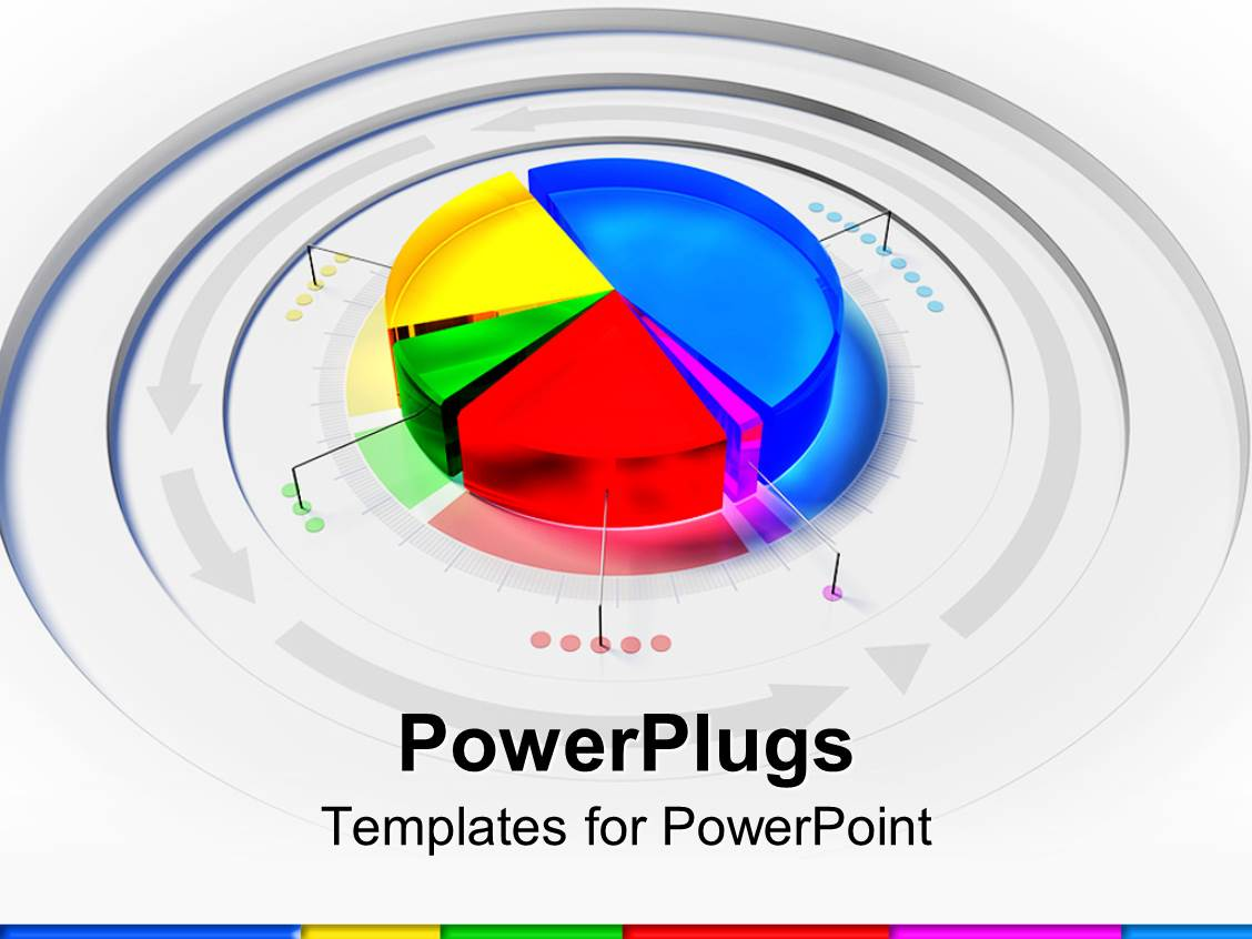 powerpoint template: 3d colorful pie chart framedarrows on, Powerpoint templates
