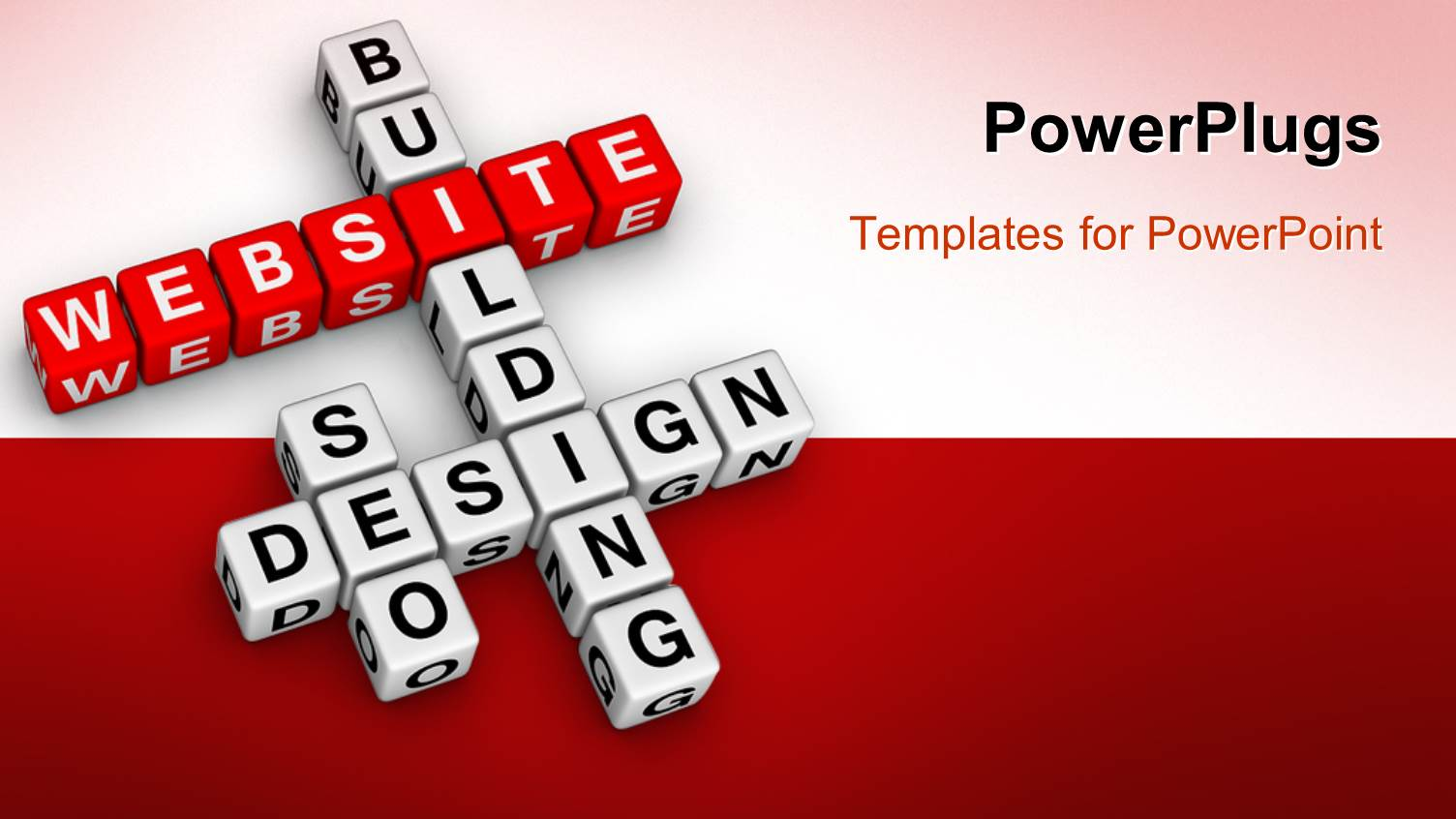 powerpoint template: 3d crossword puzzle cubes for website, Powerpoint templates