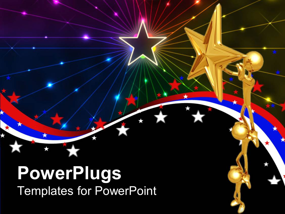 powerpoint template  a 3d depiction of stars and figures