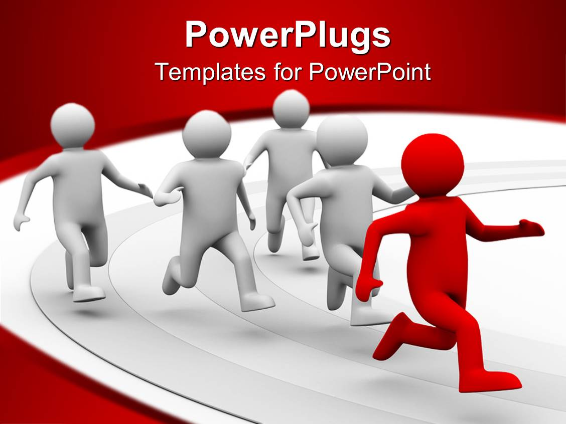powerpoint template: a 3d design giving the concept of leadership, Modern powerpoint