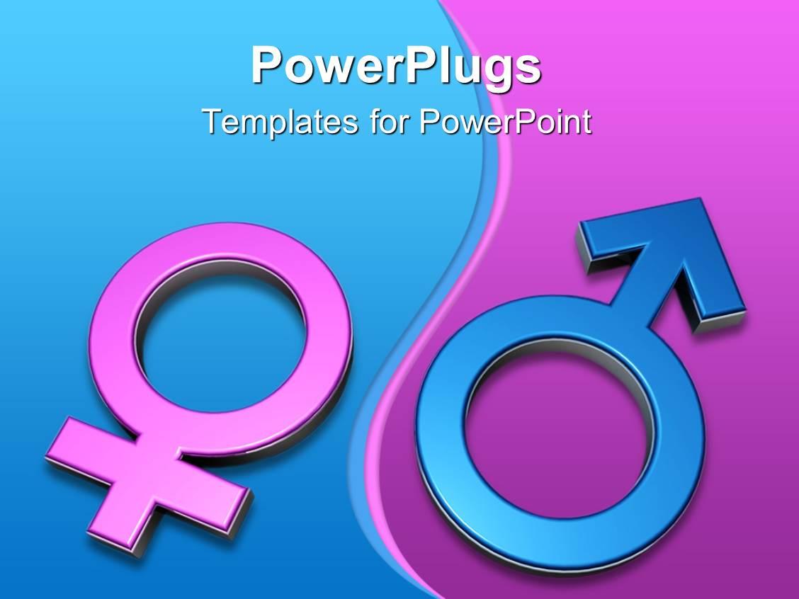 PowerPoint Template: 3D gender symbols, pink female symbol
