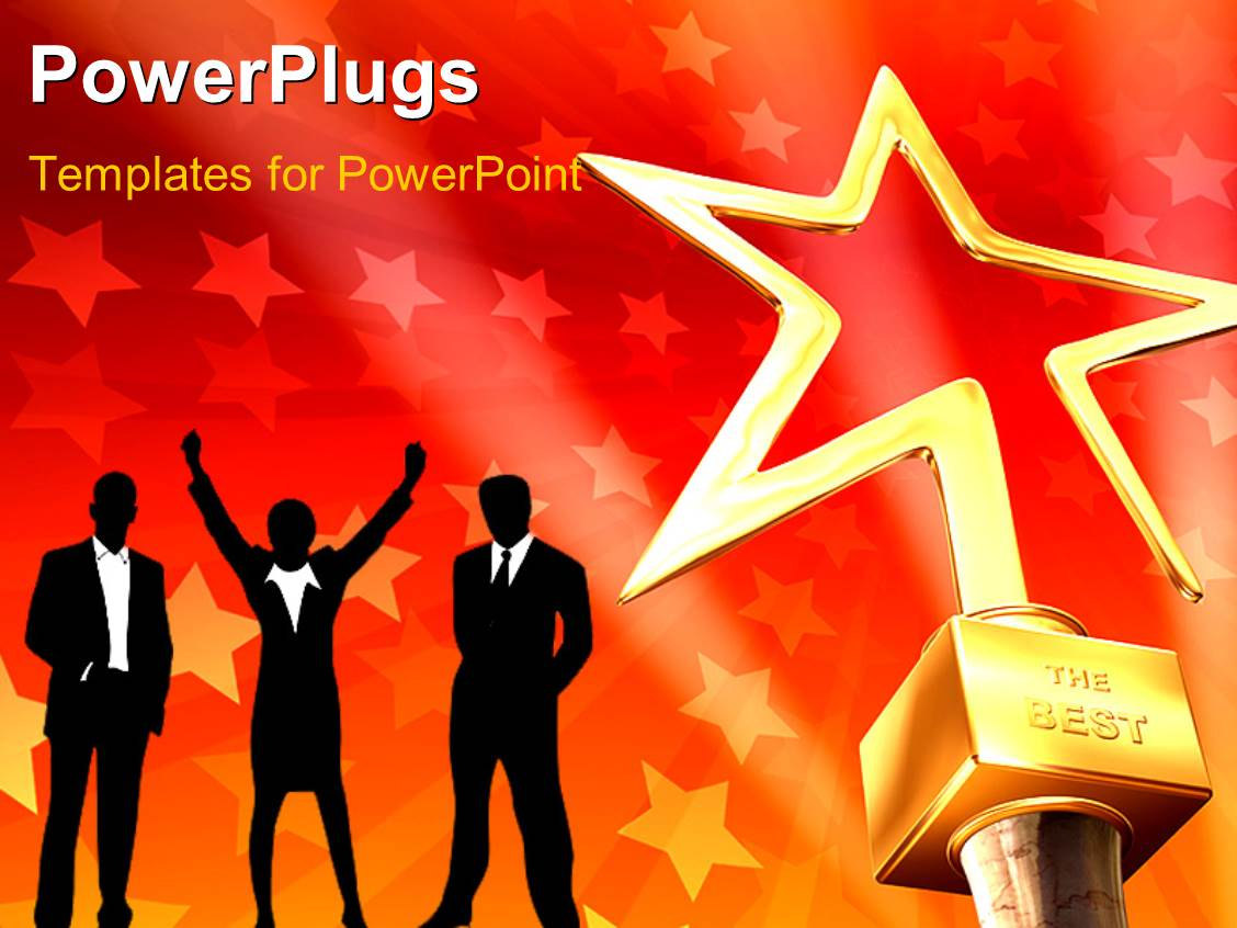 Star award powerpoint templates crystalgraphics amazing presentation theme consisting of 3d gold star award on red stars background with business toneelgroepblik Images