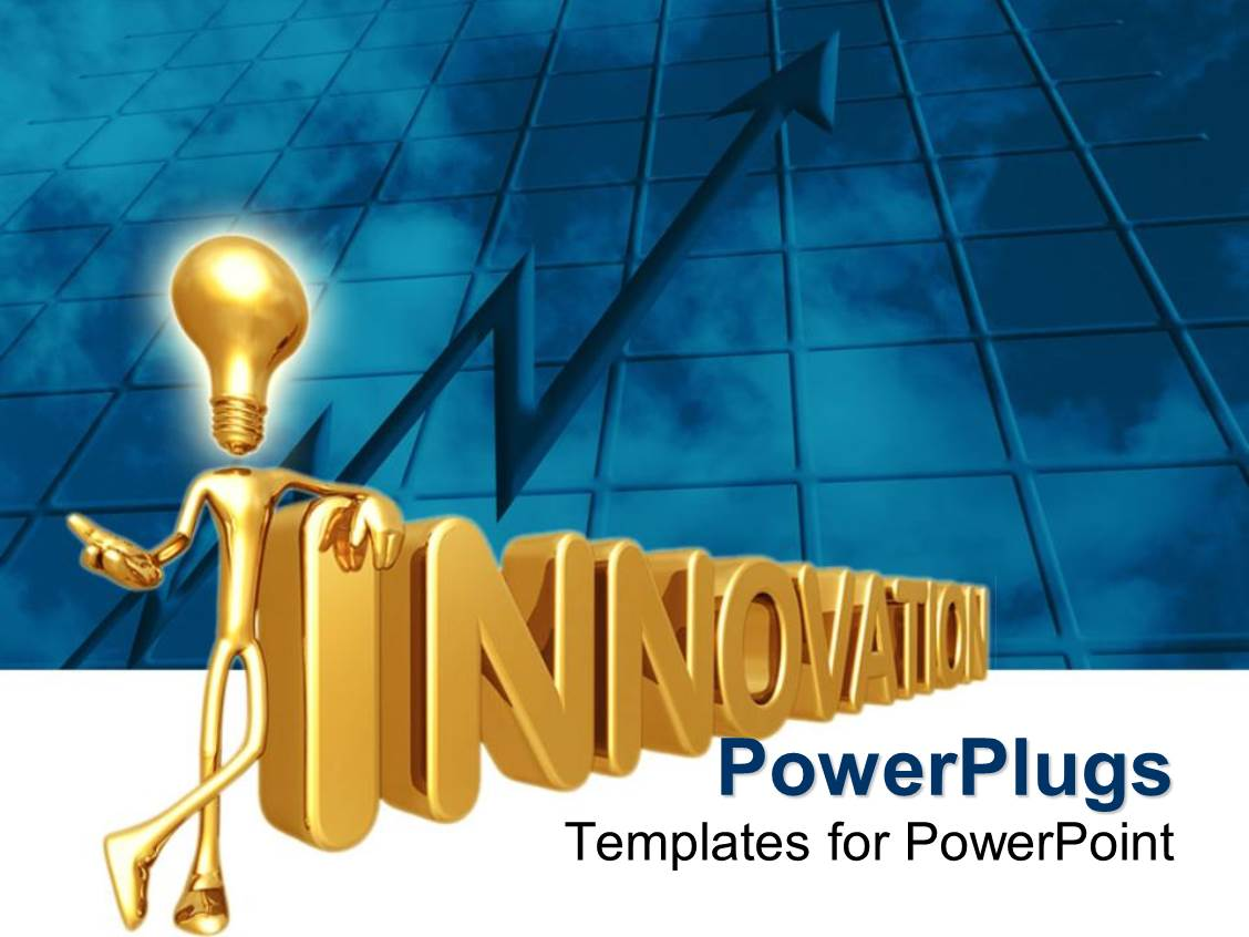 Powerpoint template 3d golden depiction of figure with light bulb powerpoint template displaying 3d golden depiction of figure with light bulb instead of head standing against toneelgroepblik Gallery