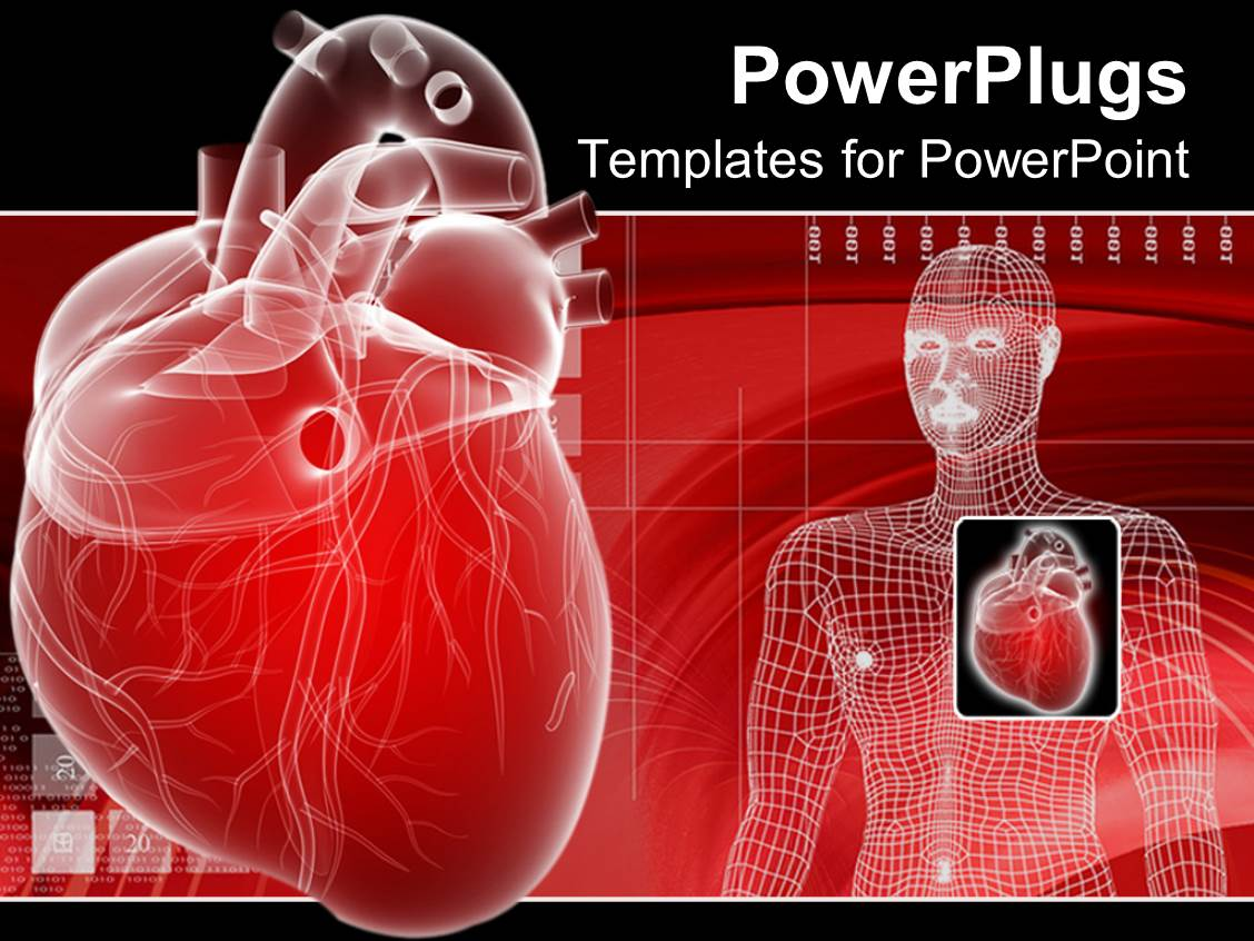 powerpoint template 3d heart depiction and digital human body