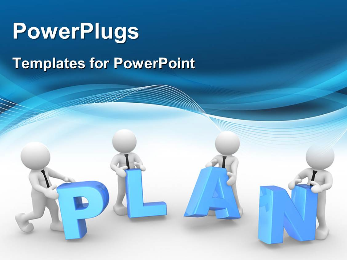 PowerPlugs: PowerPoint Template With 3D Human Characters Collaborating On A  Plan With Nice Blue Waves
