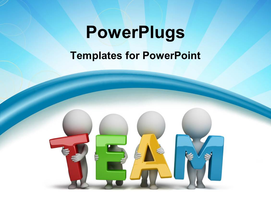 Powerpoint template unemployment depiction with team of people audience pleasing slide set with 3d human characters holding hands in the word team with rays toneelgroepblik Image collections
