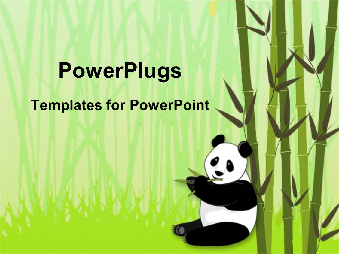 Panda powerpoint templates crystalgraphics powerplugs powerpoint template with 3d panda resting on sugar cane stick eating from sugar cane toneelgroepblik Images
