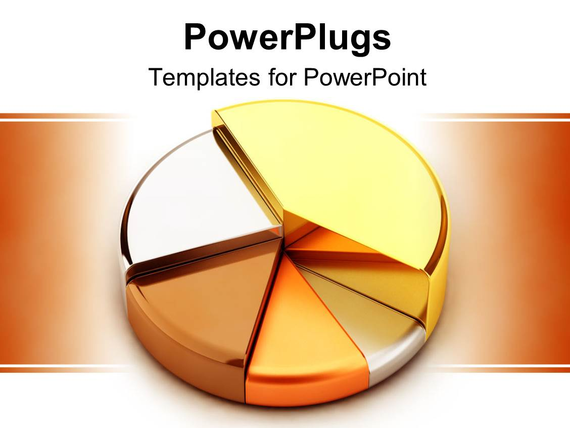 powerpoint template: 3d pie chart made of precious metals, gold, Powerpoint templates