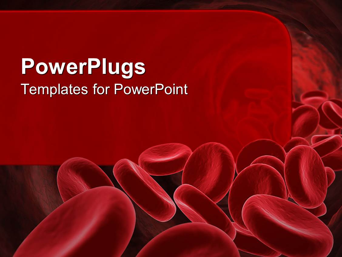 Powerpoint template 3d red blood cells going through the for Blood ppt templates free download