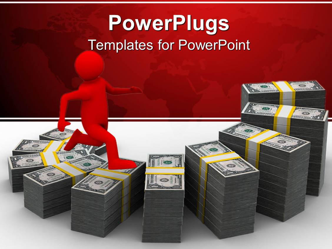 PowerPoint Template Displaying 3D Red Figure Going Up a Stair Formed of Money Stacks
