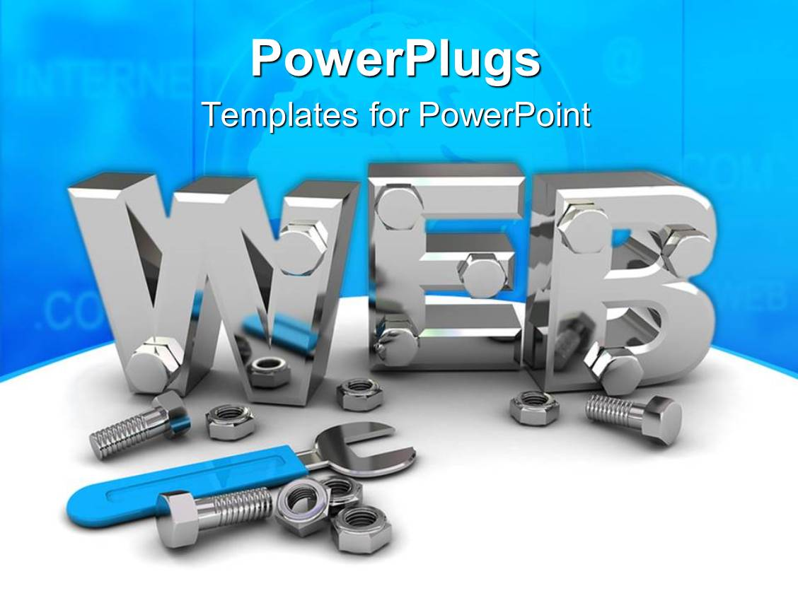 Powerpoint Template 3d Silver Steel Web Symbol With