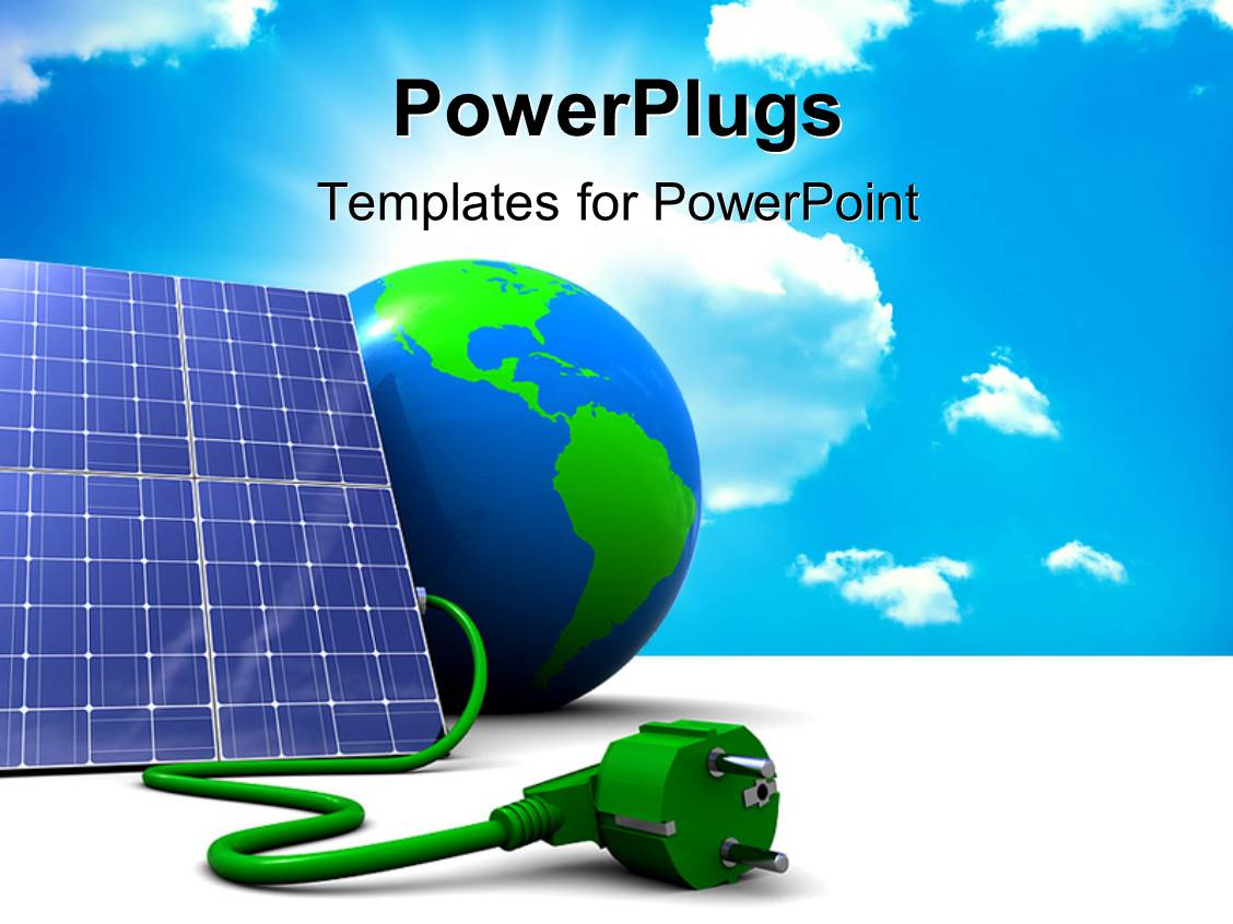 powerpoint template: solar energy panels with beautiful sky in the, Powerpoint templates
