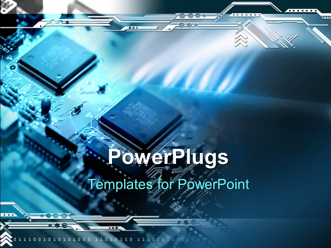 powerpoint template: abstract blue background with computer, Powerpoint templates
