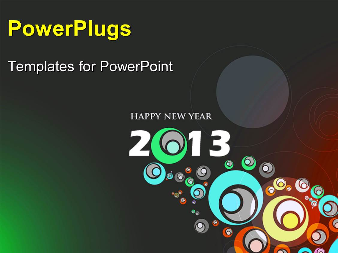 PowerPoint Template Displaying Abstract Design for New Year 2013 with Circles on Grey Surface