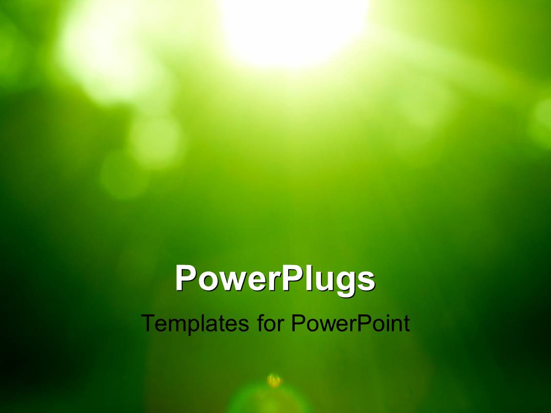 powerpoint template abstract green forest defocused with