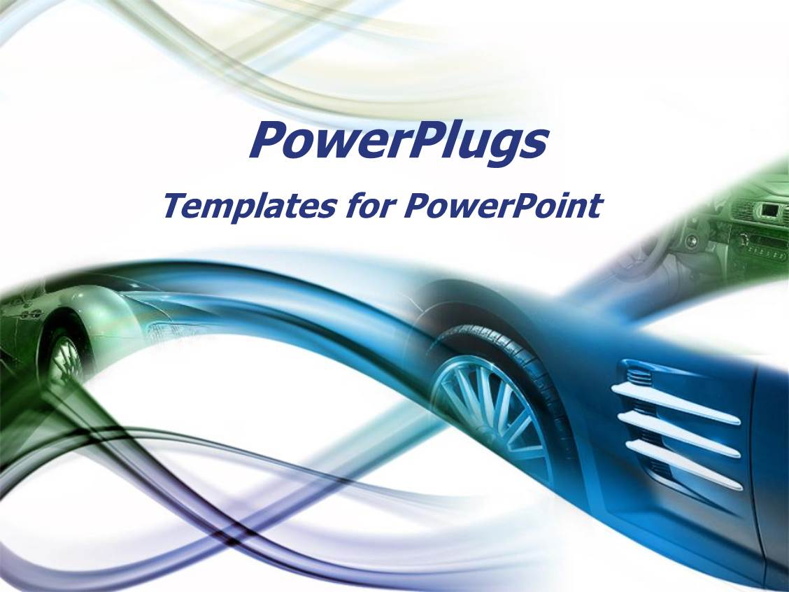 powerpoint template: abstract image of sports car in blue and, Modern powerpoint