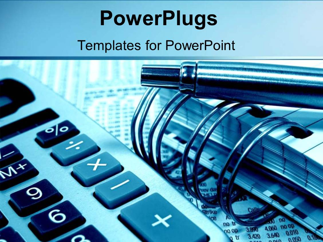 PowerPoint Template: accounting and calculating with pens ...