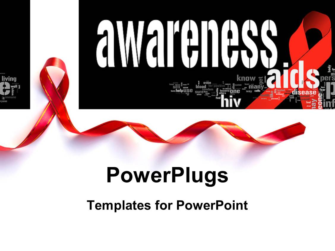 Hiv aids powerpoint templates crystalgraphics presentation featuring aid awareness concept with red support ribbon with keywords in the background toneelgroepblik Images