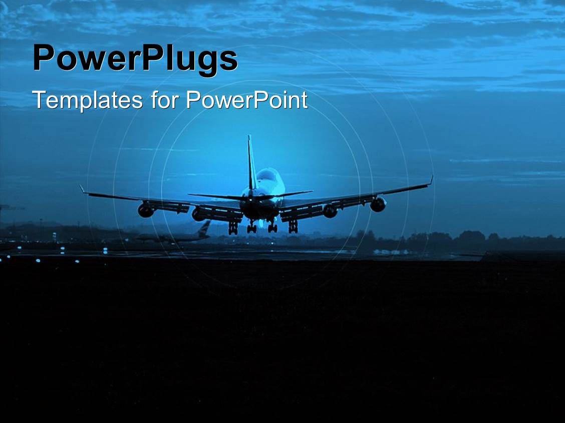 powerpoint template: airport airplane transportation theme with, Modern powerpoint