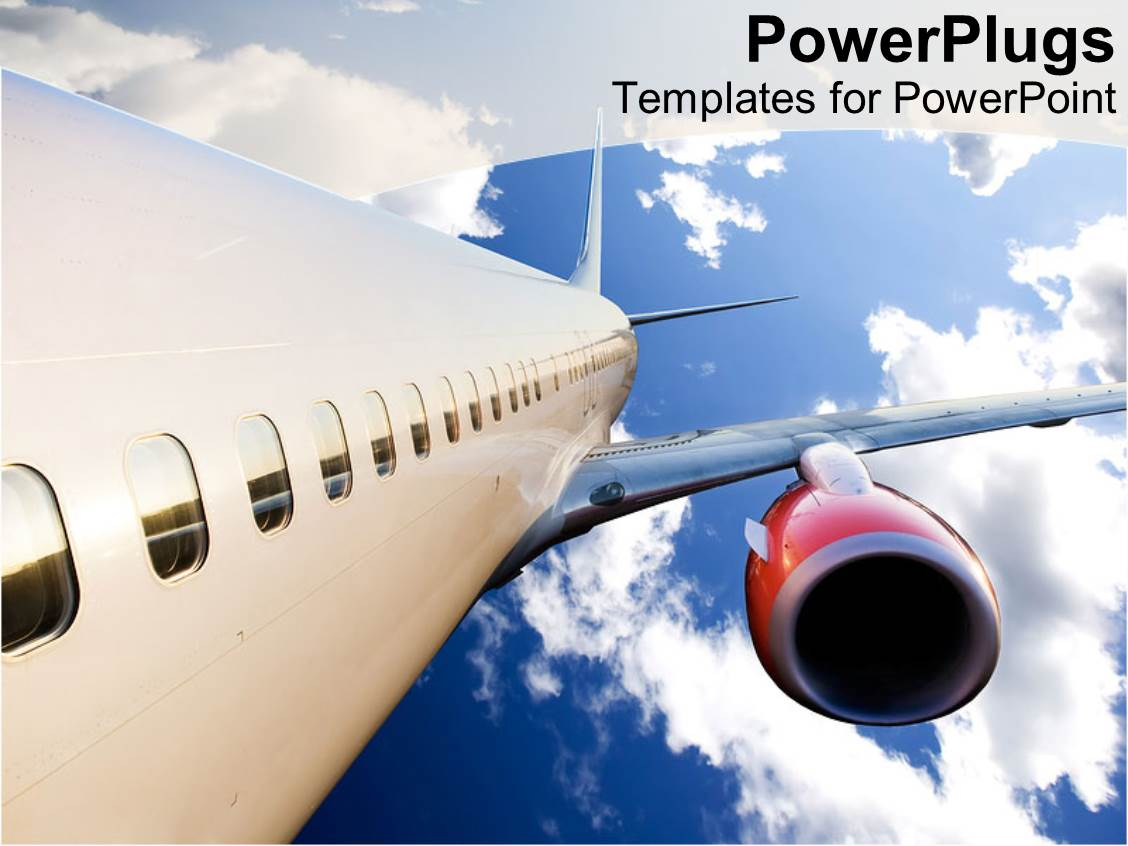 powerpoint template: airplane with red engine flying in blue, Modern powerpoint