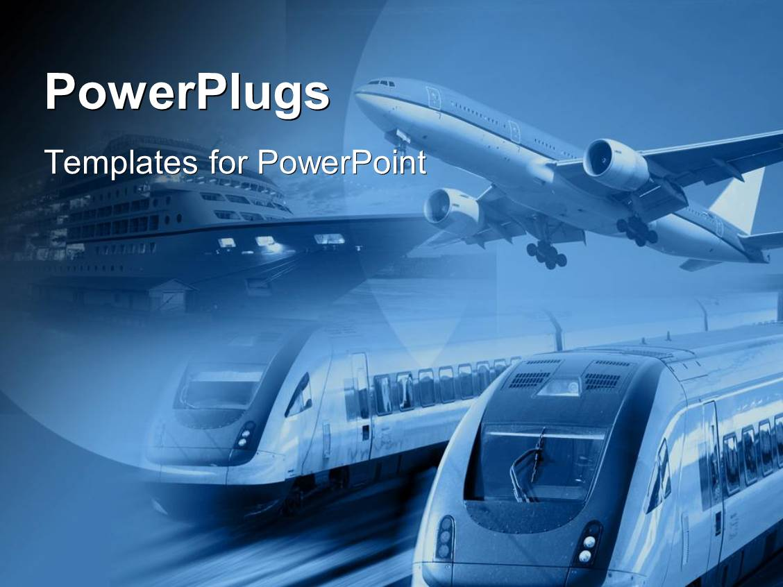 Transportation powerpoint templates crystalgraphics powerplugs powerpoint template with airplane train and ship at one place with blue background toneelgroepblik Choice Image