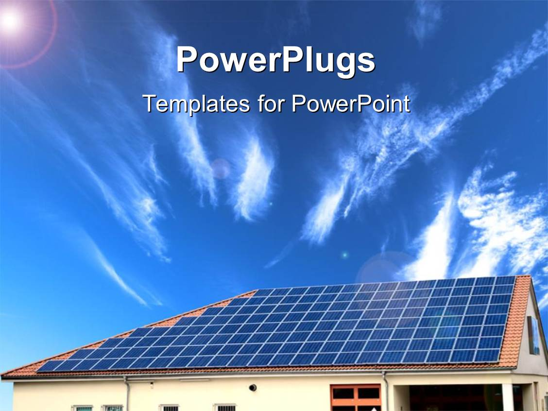 powerpoint template: alternative energy solar panel with sky in, Powerpoint templates