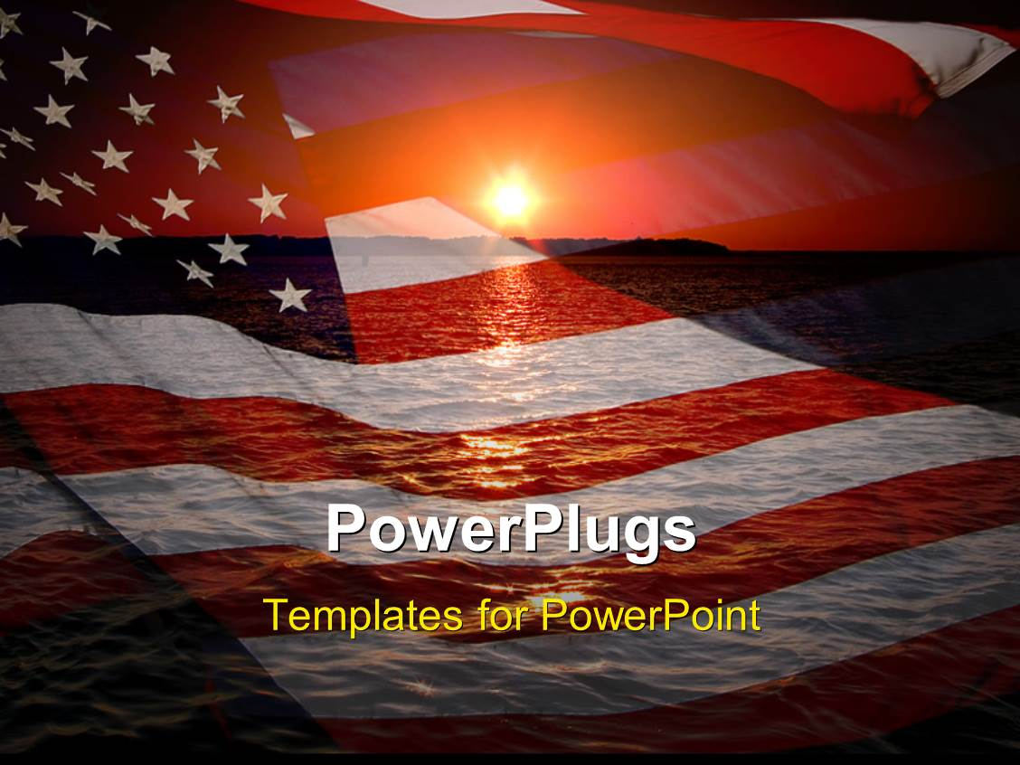 PowerPoint Template: America patriotic concept with sunrise over ...