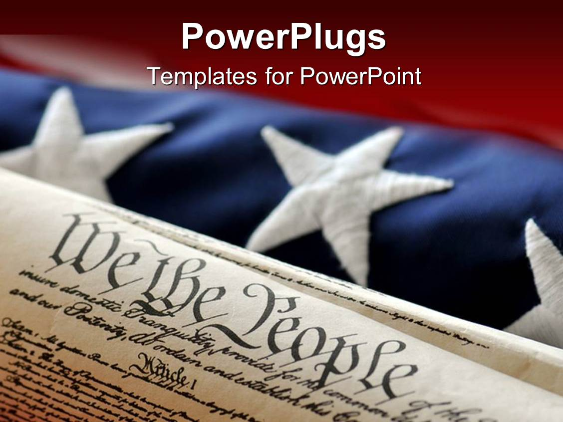 powerpoint template an american flag in the background while the constitution in the front 31254. Black Bedroom Furniture Sets. Home Design Ideas