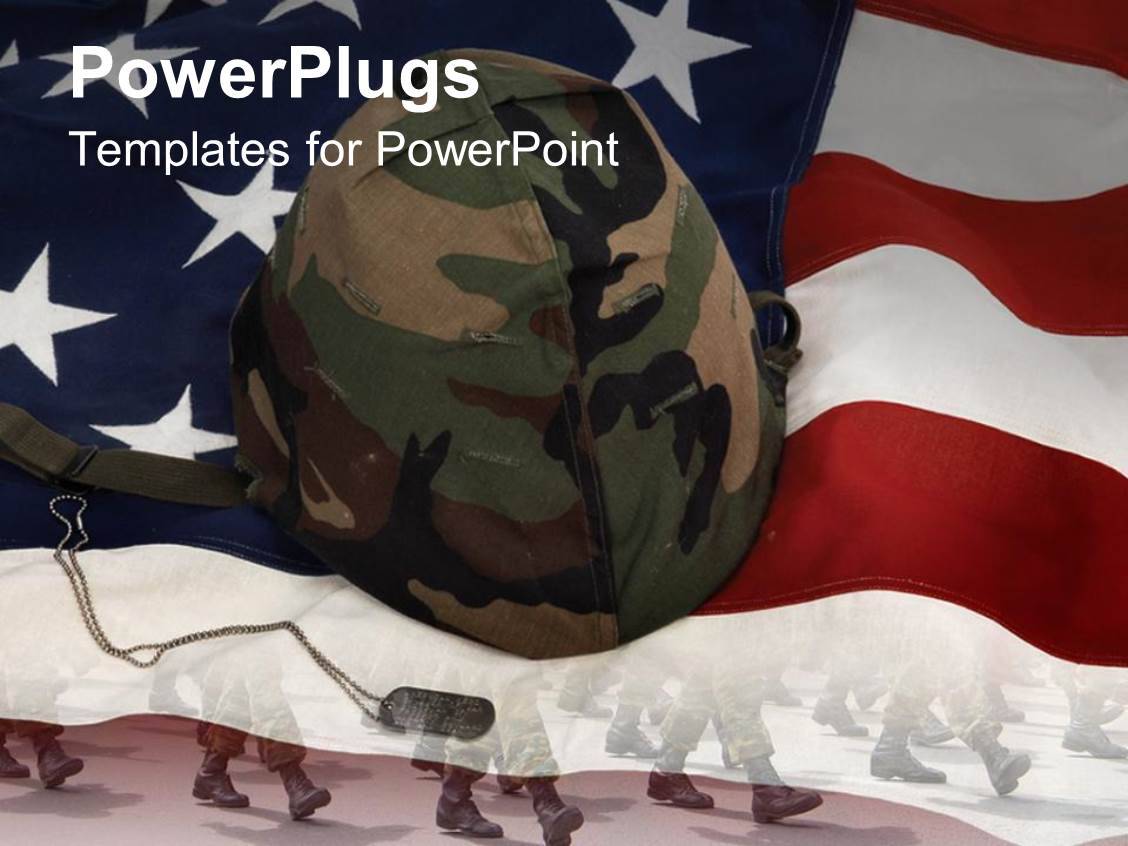 Powerpoint template military parade background depicting soldiers presentation theme enhanced with an american flag with a soldiers helmet toneelgroepblik Image collections