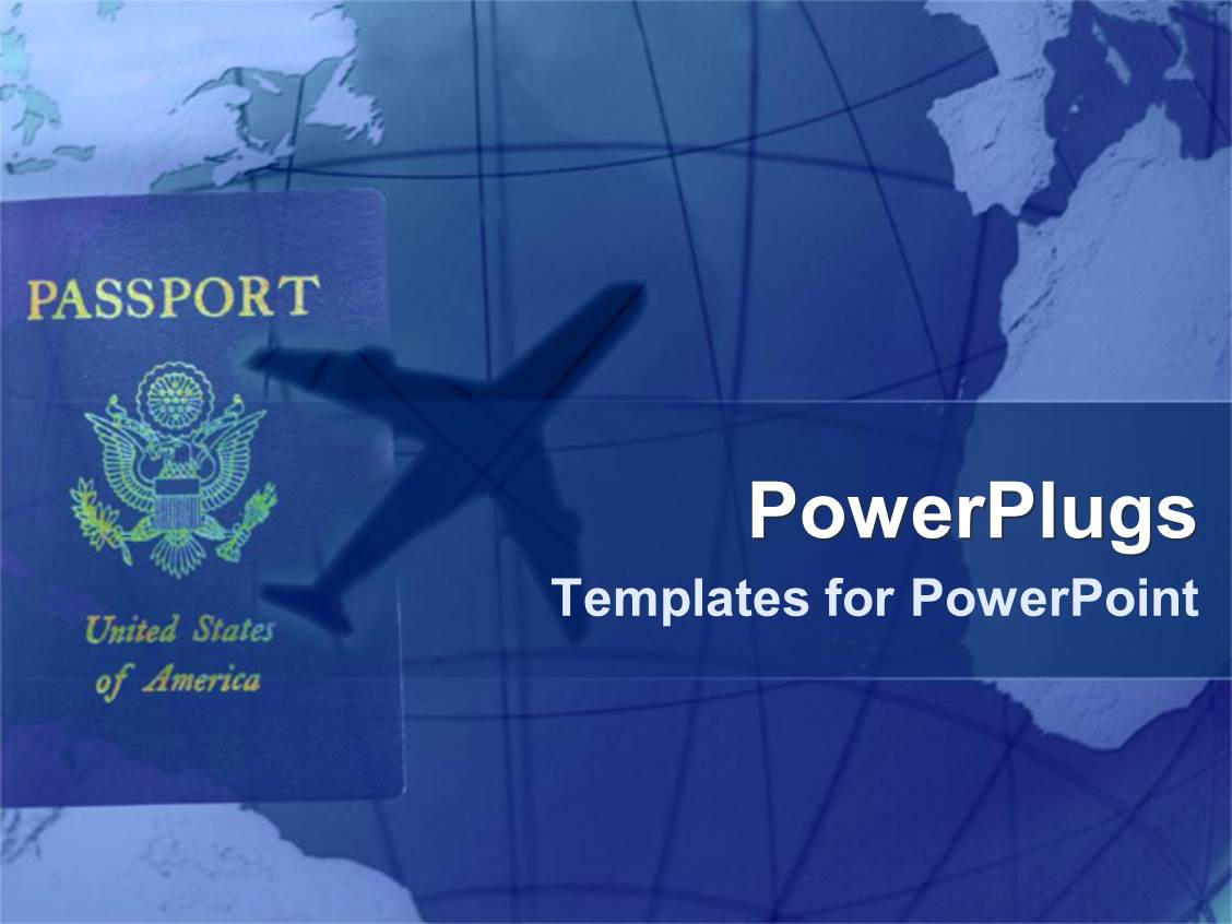 Powerpoint template transportation flying in airplane public beautiful design having american passport with shadow of airplane in blue background toneelgroepblik Images
