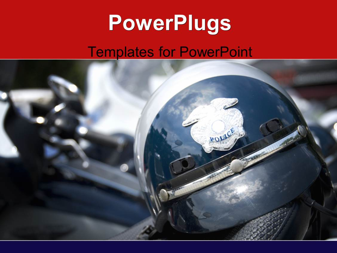 Police powerpoint templates crystalgraphics theme having american police helmet on the saddle with the motorcycles template size toneelgroepblik Choice Image