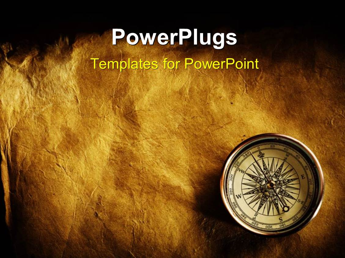 powerpoint template  antique compass on weathered brown