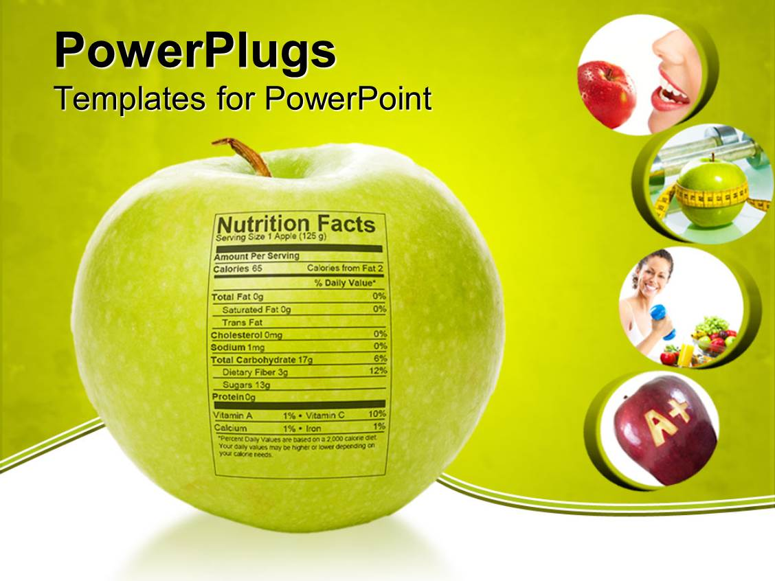 PowerPoint Template: Apple nutrition facts, apple with measuring ...