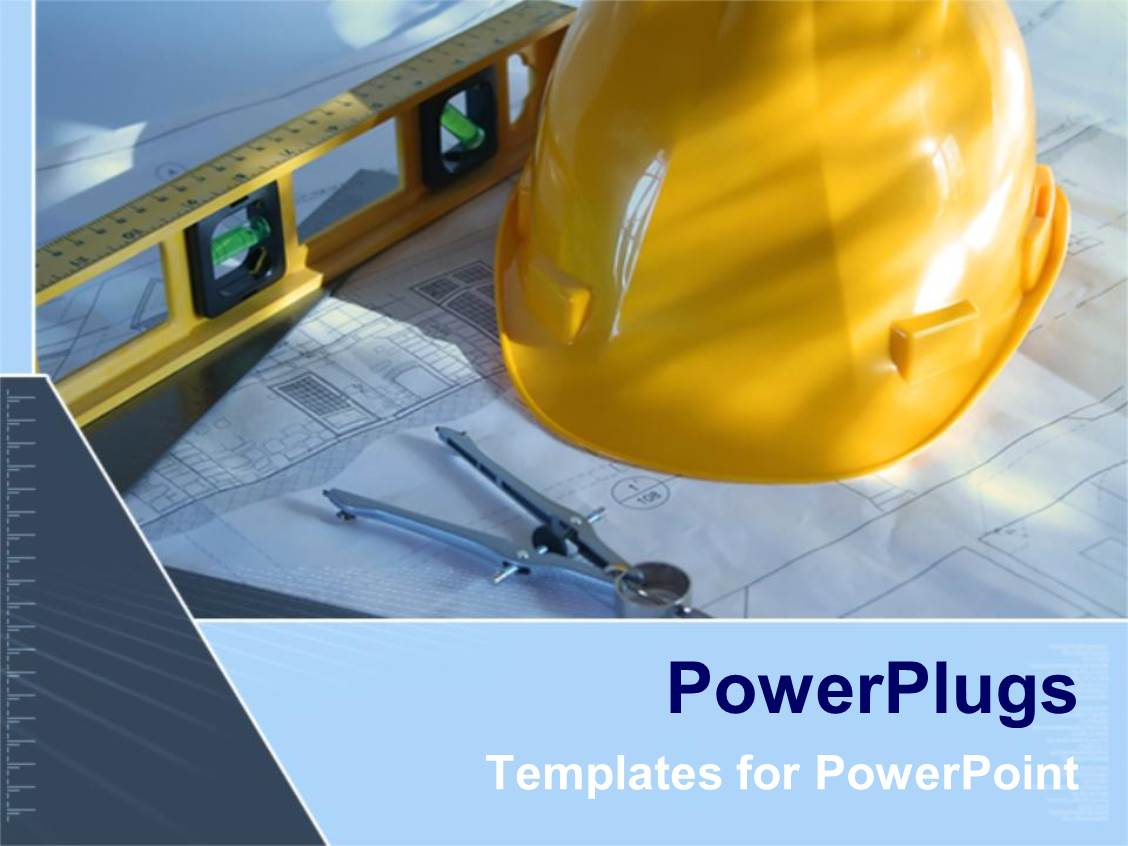 powerpoint template architecture blue prints with