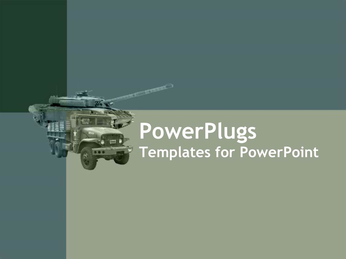 Defence powerpoint templates crystalgraphics powerplugs powerpoint template with army green loaded truck on an ash colored background toneelgroepblik Gallery