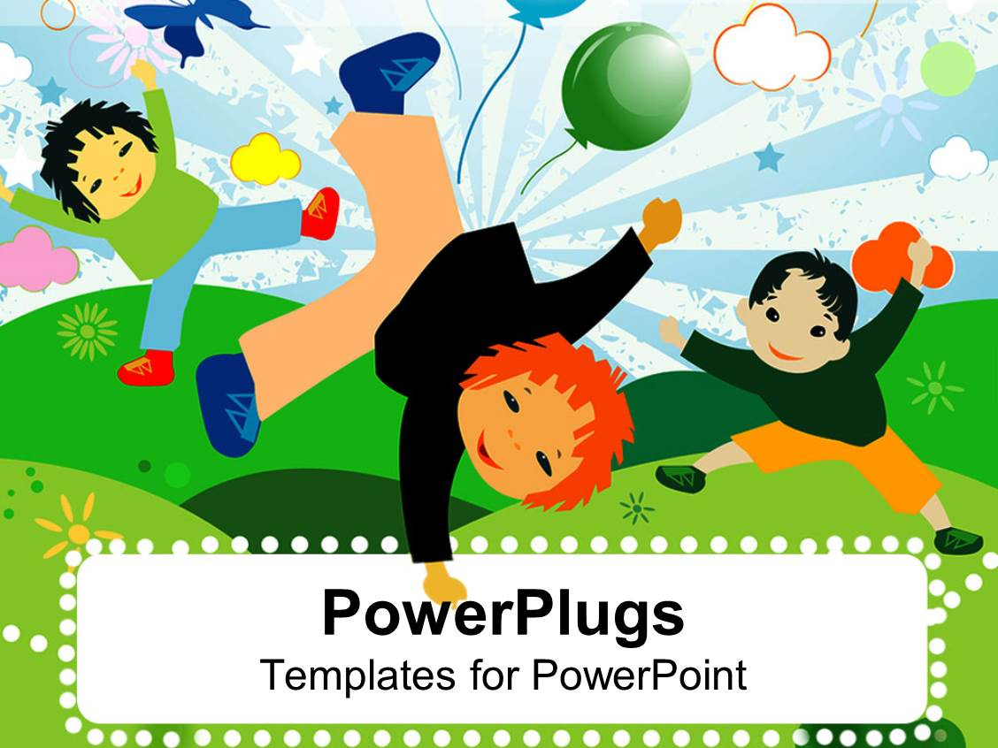 Powerpoint template kids playing and having fun together in theme with artwork of three cute children dancing and playing toneelgroepblik Images