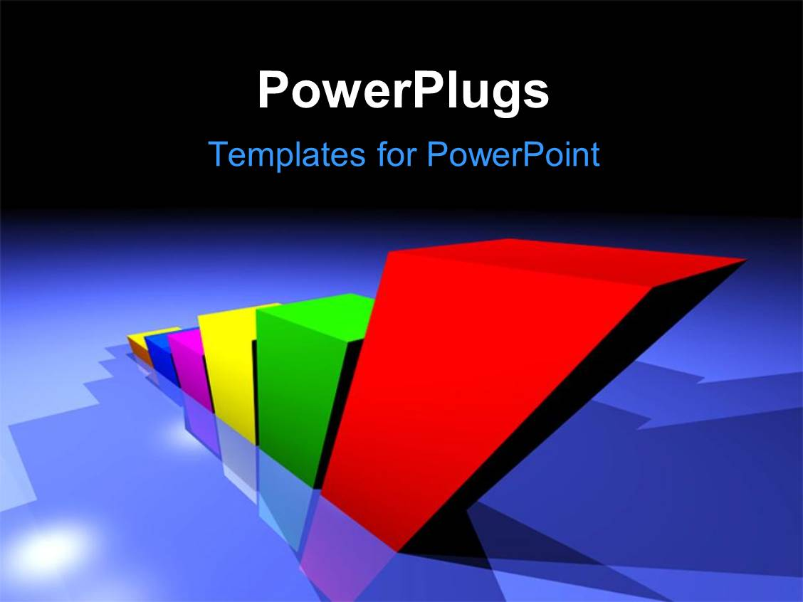 Powerpoint template an ascending row of 3d bar chart on a for Power plugs powerpoint templates