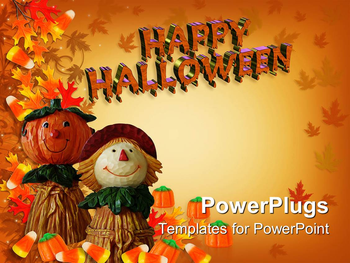 powerpoint template autumn background with happy halloween sign and two dolls 15345. Black Bedroom Furniture Sets. Home Design Ideas