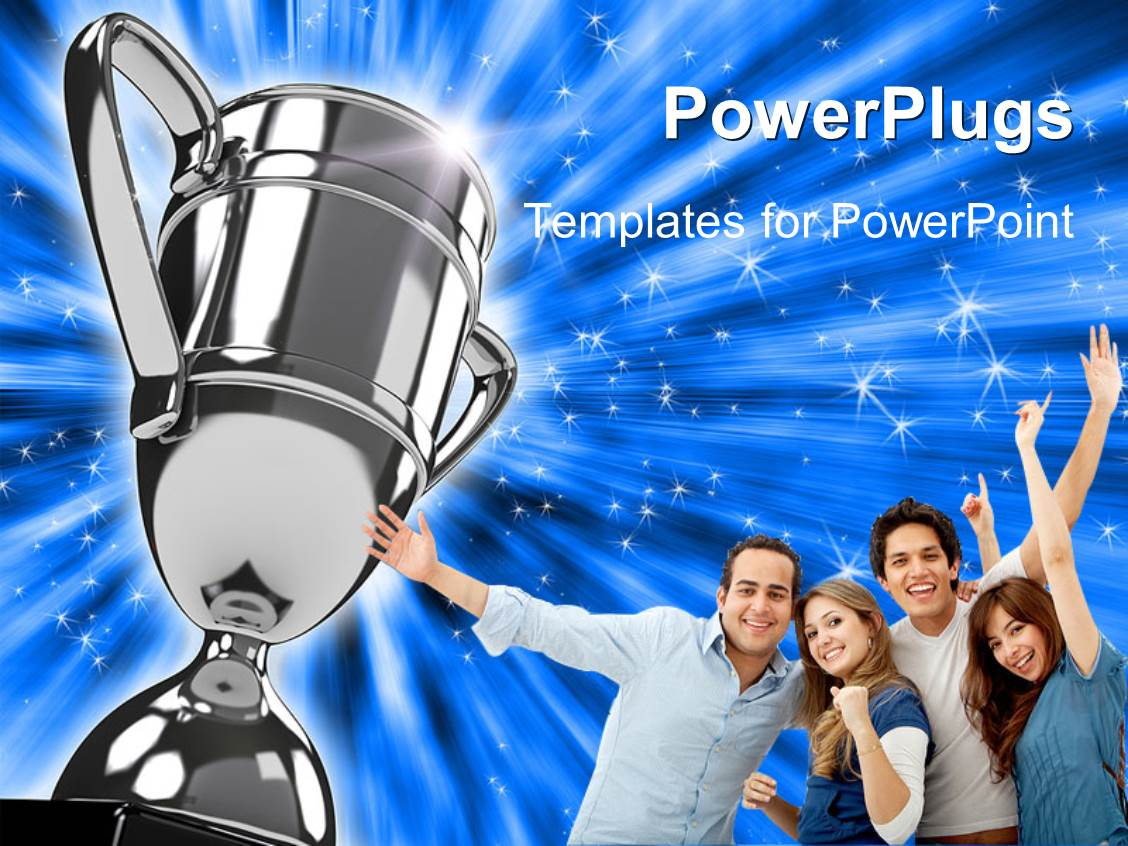 powerpoint template award winning group points to silver
