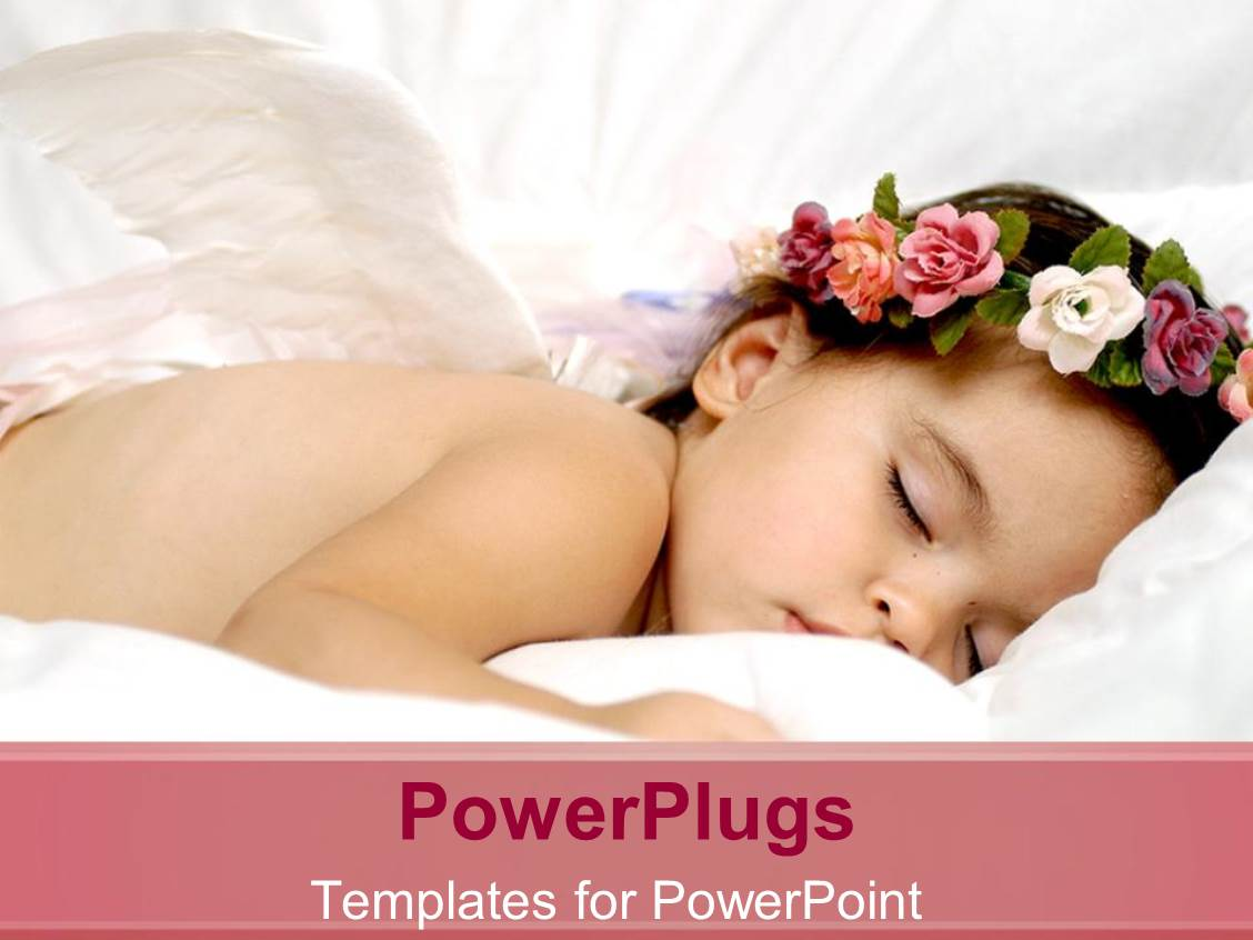 PowerPoint Template Displaying Baby Sleeping Soundly with a Flowers Round the Head