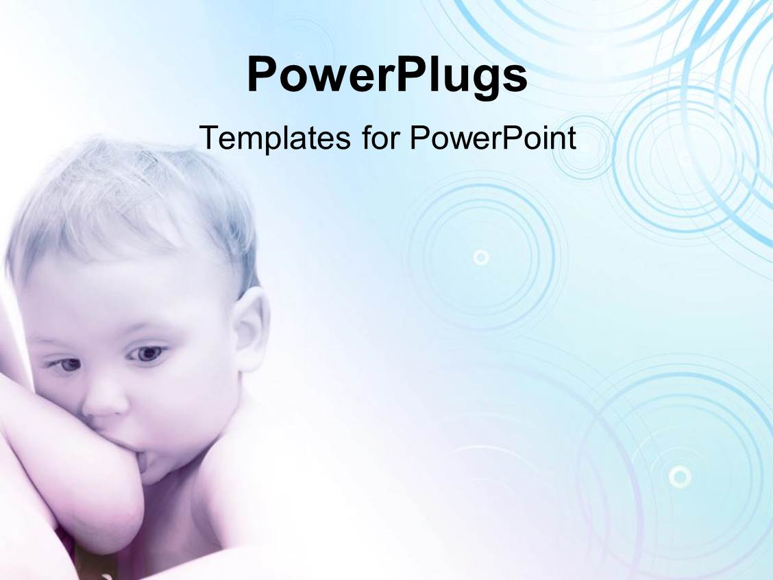 powerpoint template: a baby sucking his/her mother's breast on a, Modern powerpoint