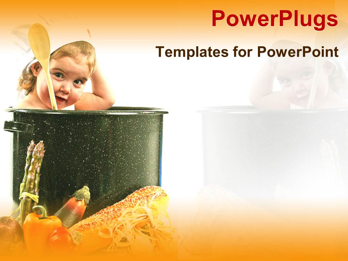 PowerPoint Template Displaying Baby Wearing a Chef Hat in a big Pot