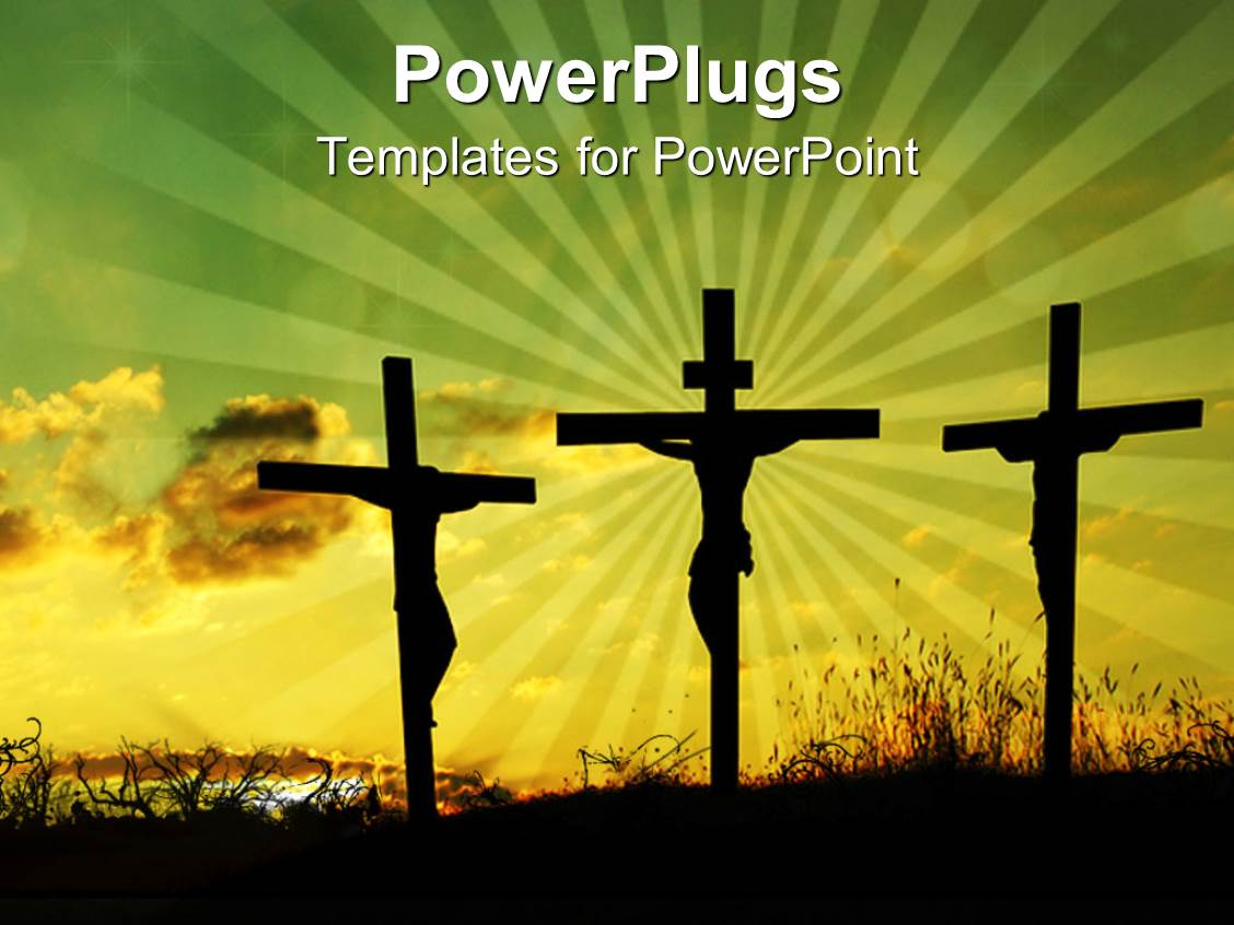 powerpoint template back lit silhouettes of jesus on the cross