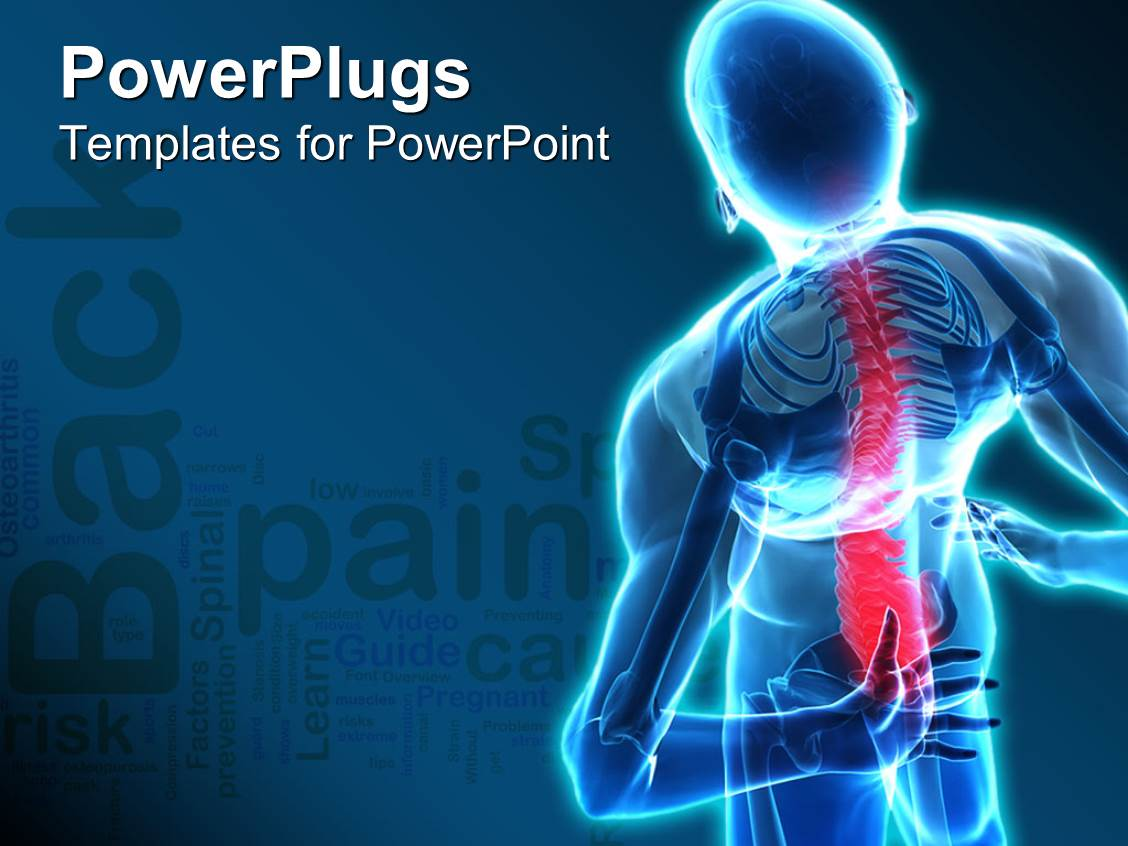 Muscle powerpoint templates crystalgraphics elegant presentation design enhanced with back pain skeleton nervous human body blue background template size toneelgroepblik Image collections