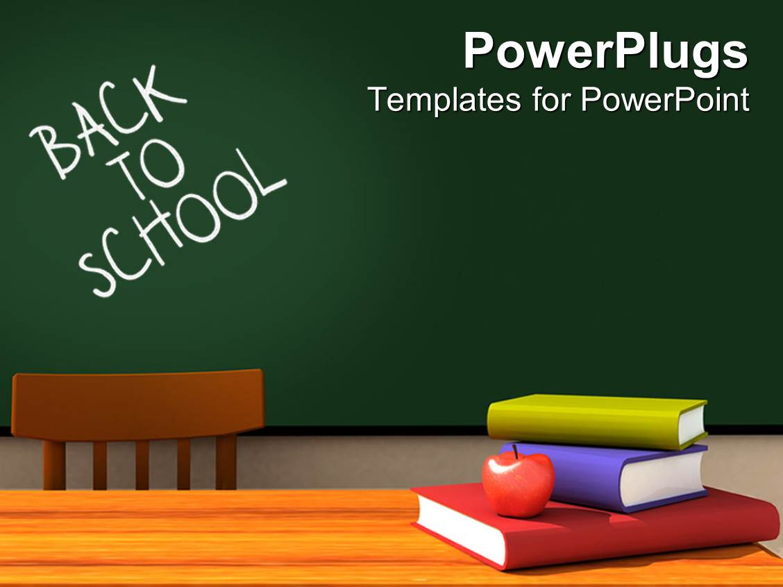 Education middle school powerpoint templates crystalgraphics powerplugs powerpoint template with back to school classroom with chalkboard and desk with books and toneelgroepblik Gallery