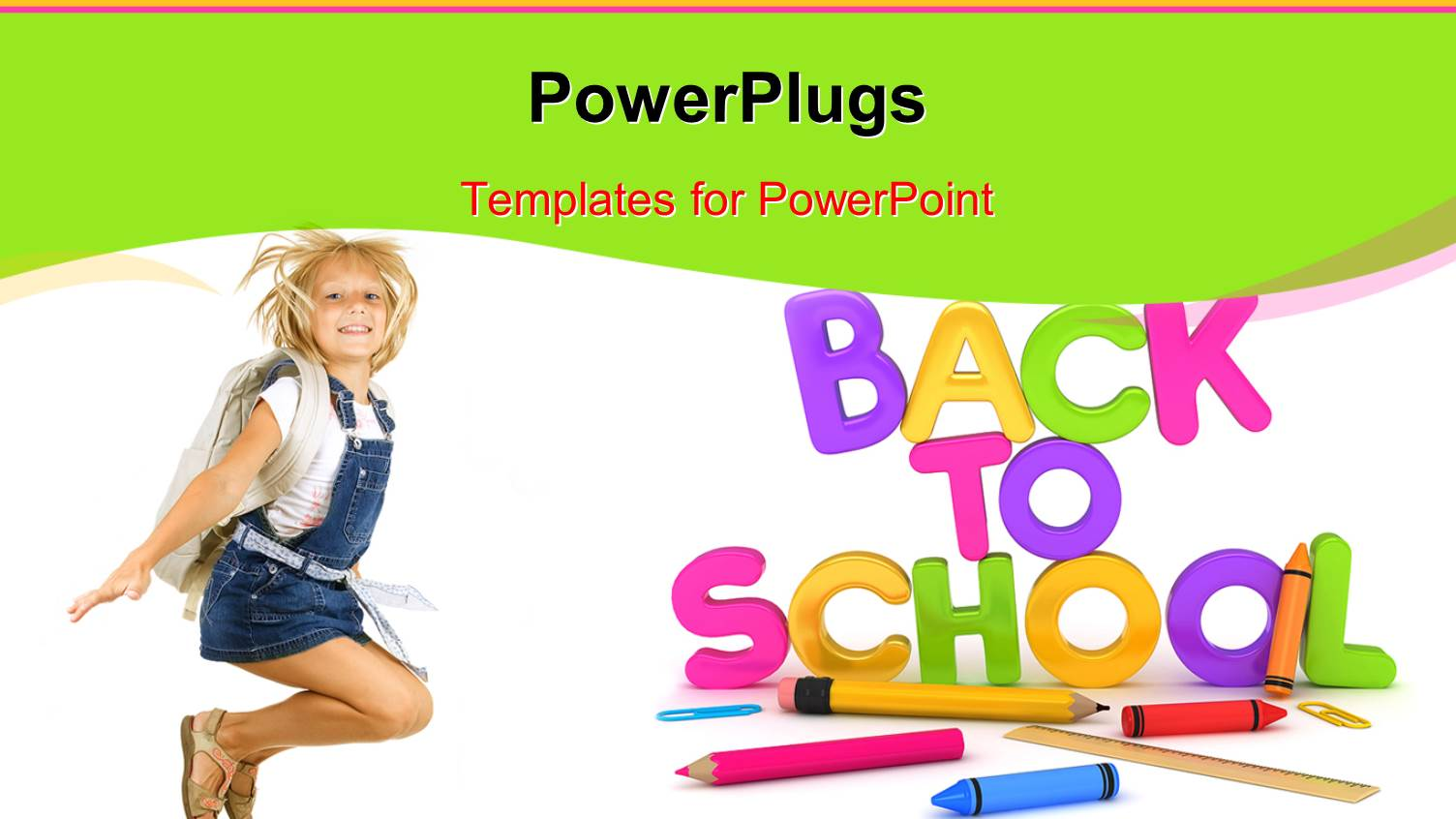Powerpoint template colorful letters form text back to school template featuring learning depiction with school supplies and cute girl dressed for school toneelgroepblik Images
