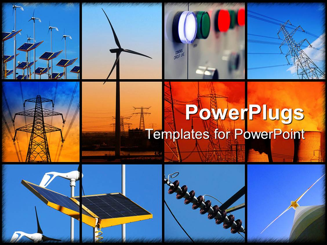 powerpoint template: graphical depiction of interconnected blue, Presentation templates