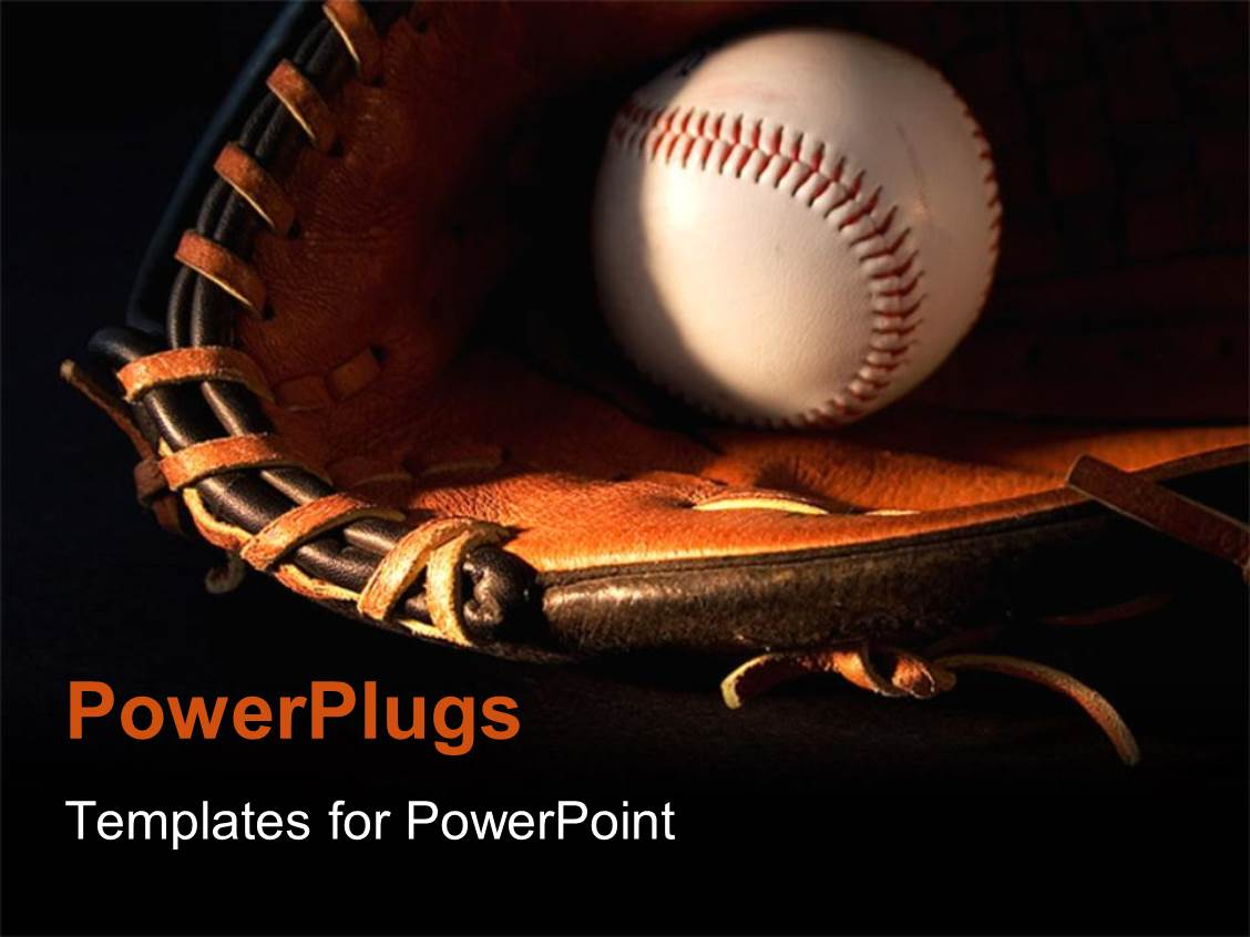 powerpoint template: a baseball and glove with blackish background, Modern powerpoint