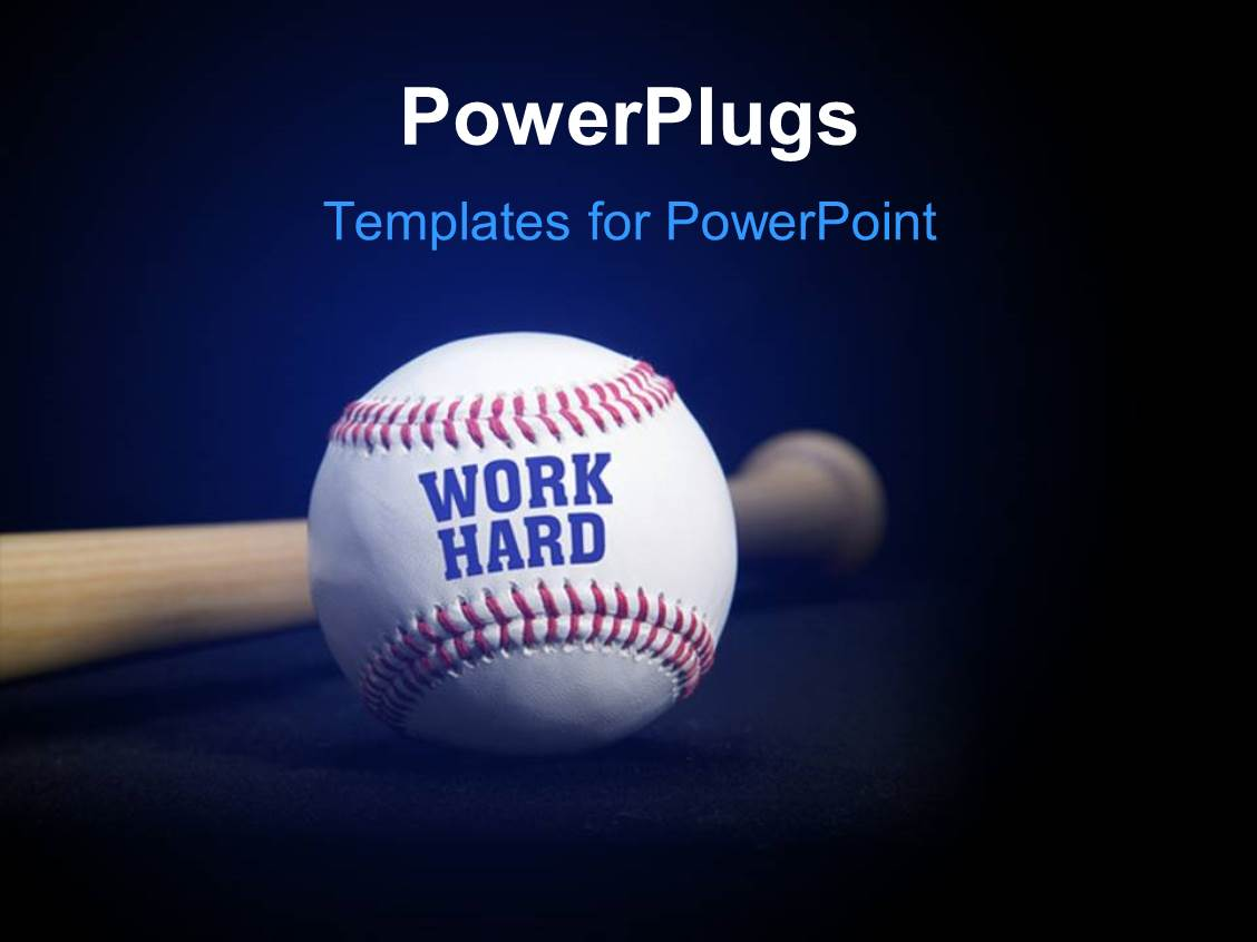 Powerpoint template baseball with text work hard over blue and powerpoint template displaying baseball with text work hard over blue and black background toneelgroepblik Image collections